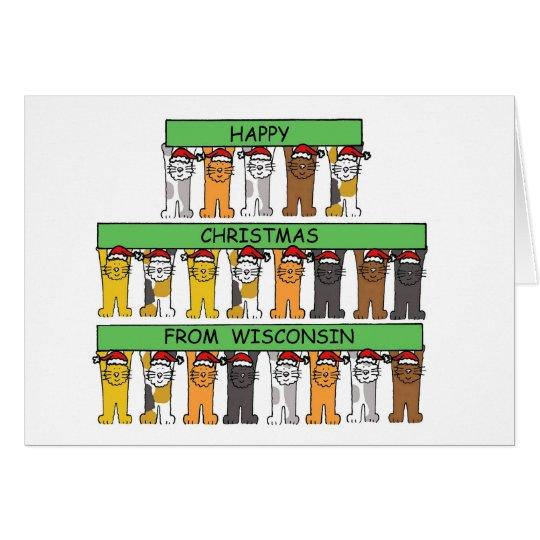 Felices Navidad de los gatos de Wisconsin Tarjeta De Felicitación