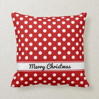 Felices Navidad de los lunares blancos rojos de Cojín Decorativo