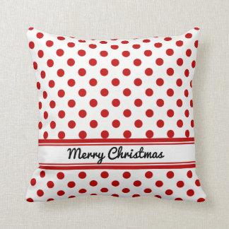 Felices Navidad de los lunares rojos blancos de Cojín Decorativo