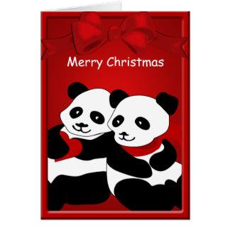 Felices Navidad de los pares del amor del oso de Tarjeta