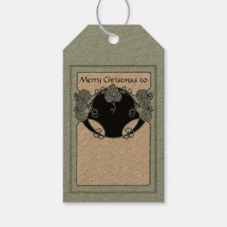 Felices Navidad de Nouveau del arte del vintage Etiquetas Para Regalos