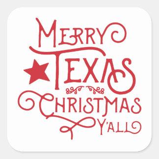 Felices Navidad de Tejas usted pegatinas Pegatina Cuadrada