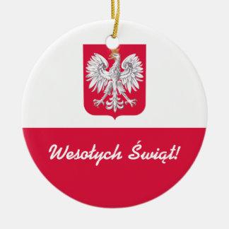 Felices Navidad de Wesołych Świąt en polaco Adorno Navideño Redondo De Cerámica