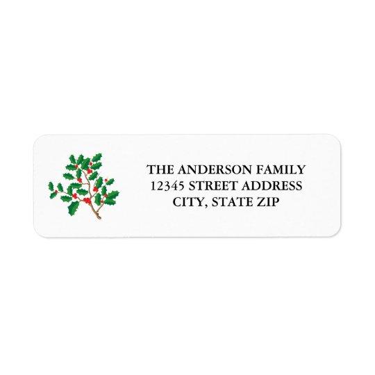 Felices Navidad del acebo - etiqueta de dirección