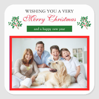 Felices Navidad del acebo - pegatina cuadrado
