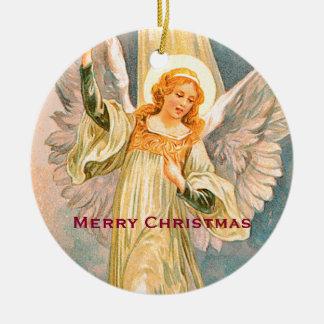 Felices Navidad del ángel del navidad Adorno De Cerámica