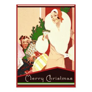 Felices Navidad del art déco fabuloso Invitación 12,7 X 17,8 Cm