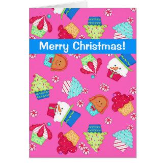 Felices Navidad del arte rosado brillante de la Tarjeta