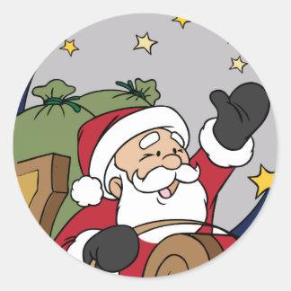 Felices Navidad del ejemplo del trineo de Santa Pegatina Redonda