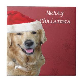 Felices Navidad del golden retriever Azulejo Cuadrado Pequeño