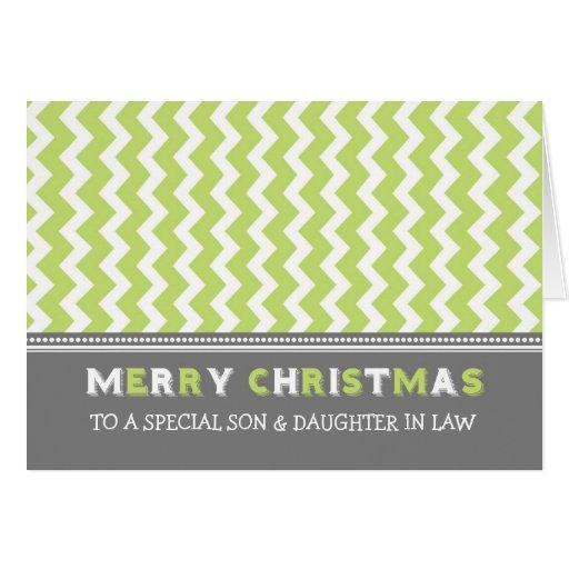 Felices Navidad del hijo y de la nuera de Chevron Tarjeta
