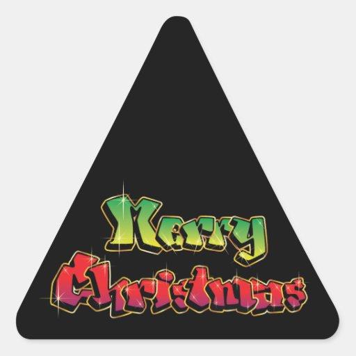 Felices Navidad en pintada Calcomanías Triangulos Personalizadas