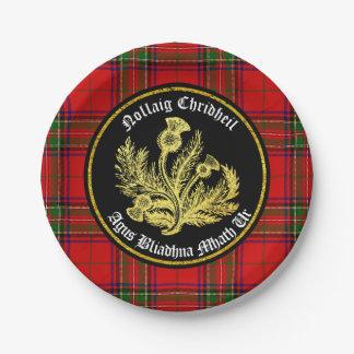 Felices Navidad escocesas y Feliz Año Nuevo Plato De Papel