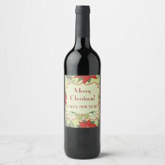 ¡Felices Navidad! Etiquetas de la botella de vino,