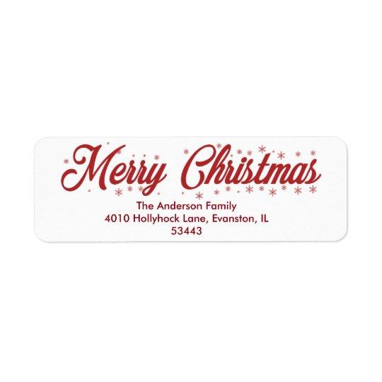 Felices Navidad - etiquetas de la escritura Etiqueta De Remitente