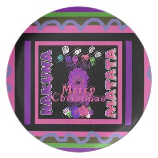 Felices Navidad hermosas Hakuna Matata de los Plato