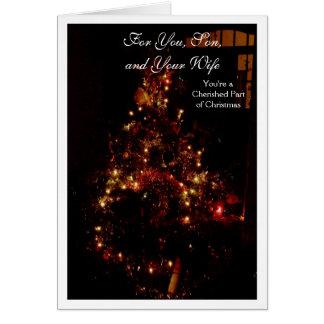 Felices Navidad hijo y tarjeta de la nuera