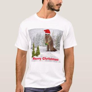 Felices Navidad l camiseta divertida del mapache
