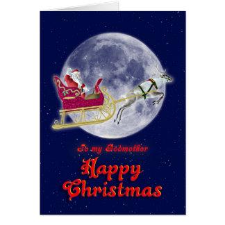 Felices Navidad madrina, santa en su trineo Tarjeta De Felicitación