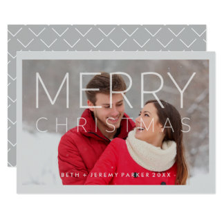 Felices Navidad modernas cubiertas con la foto Invitación 12,7 X 17,8 Cm