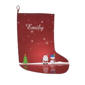 Felices Navidad muñeco de nieve y Santa - media Calcetín De Navidad Grande