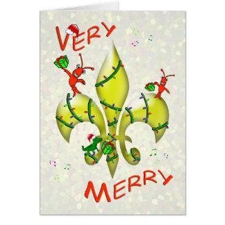 Felices Navidad muy de la flor de lis de los Tarjeta
