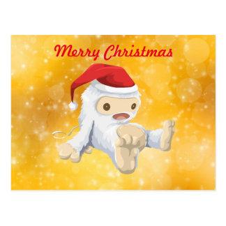 Felices Navidad - navidad Yeti en el gorra de Postal