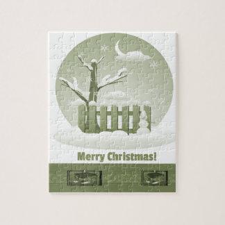Felices Navidad Nevado del vintage gráficas Puzzle