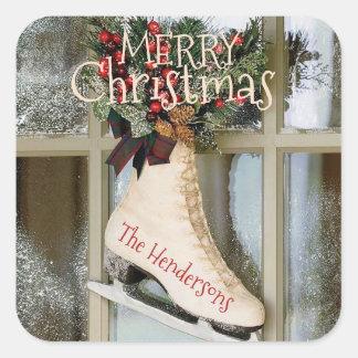 Felices Navidad - pegatina patinador