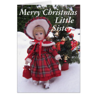 Felices Navidad, pequeña hermana Tarjeta De Felicitación
