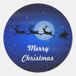 Felices Navidad que vuelan Santa Pegatina Redonda