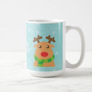 Felices Navidad - reno lindo con la nariz roja Taza De Café