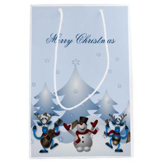 Felices Navidad - reno y muñecos de nieve Bolsa De Regalo Mediana