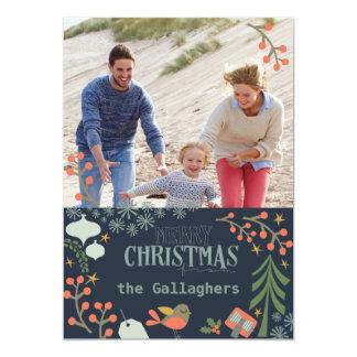 Felices Navidad retras Invitación 12,7 X 17,8 Cm