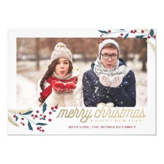 Felices Navidad rojas del marco el | de la foto de Invitación 12,7 X 17,8 Cm