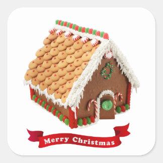 Felices Navidad rojas festivas de la casa de pan Pegatina Cuadrada