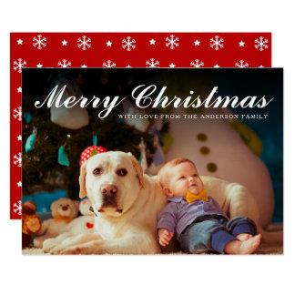 Felices Navidad rojas y foto blanca de los copos Invitación 12,7 X 17,8 Cm