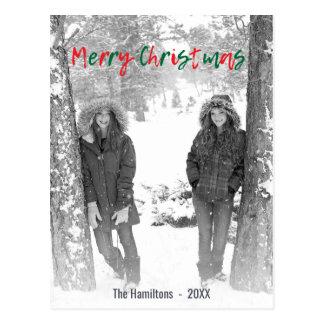 Felices Navidad rojas y foto verde de la capa de Postal