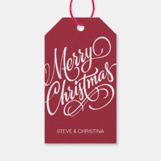 Felices Navidad rojas y verdes Etiquetas Para Regalos
