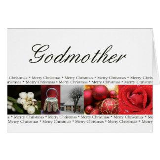 Felices Navidad rojo, negro y blanco de la madrina Tarjeta De Felicitación