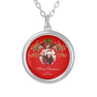 Felices Navidad rojos verdes de Navidad de la foto Collar Plateado