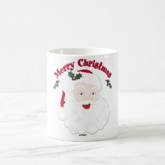 Felices Navidad Santa del vintage Taza Básica Blanca