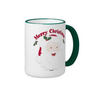 Felices Navidad Santa del vintage Taza De Dos Colores