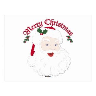 Felices Navidad Santa - escritura del vintage Postal