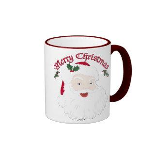 Felices Navidad Santa - escritura del vintage Taza De Dos Colores