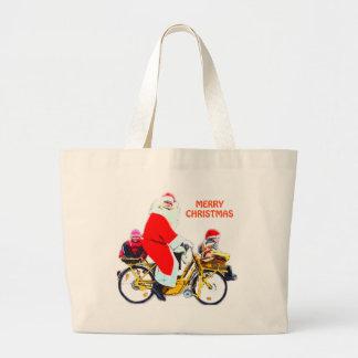Felices Navidad Santa y niños Bolso De Tela Gigante