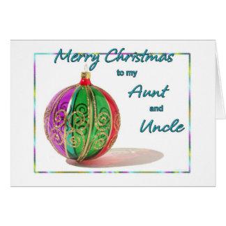 Felices Navidad tía y tío Multicolored Glass Tarjeta De Felicitación