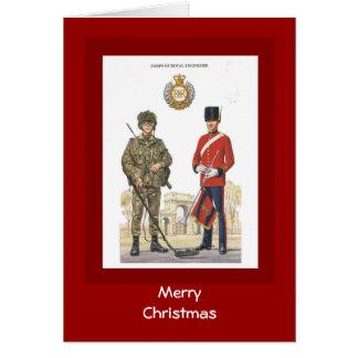Felices Navidad, uniformes históricos, ingenieros Tarjeta De Felicitación