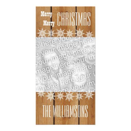 Felices Navidad V1 de los copos de nieve de madera Tarjeta Con Foto Personalizada