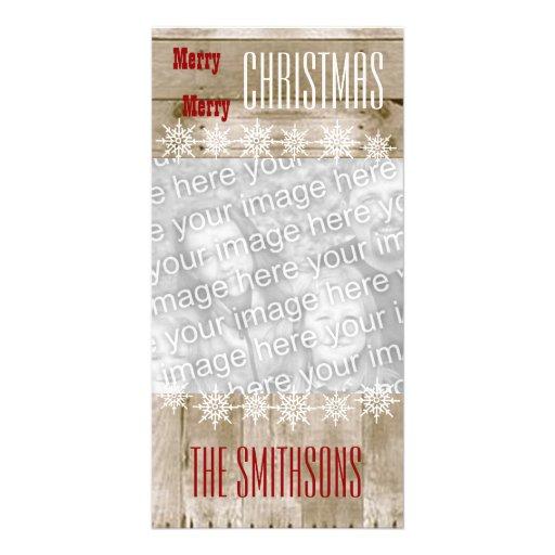 Felices Navidad V3 de los copos de nieve de madera Tarjeta Personal Con Foto